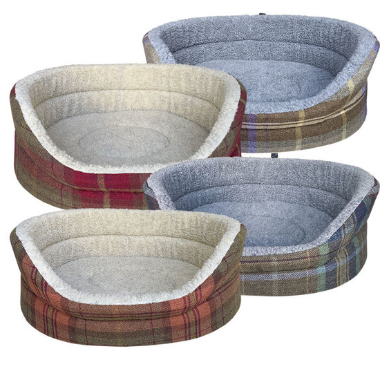 Picture of Luxury Country Check Oval Dog Bed